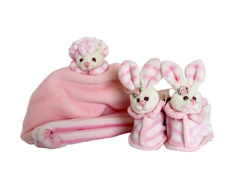 A cute pink set for the #baby. #Teddy Bear  #hat and #bunny #shoes with a #rattle in them! -