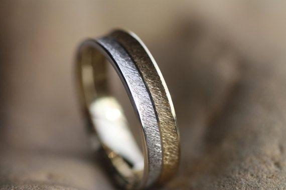 Two tone Wedding band K18/White Gold K14 ring/Yellow Gold K18