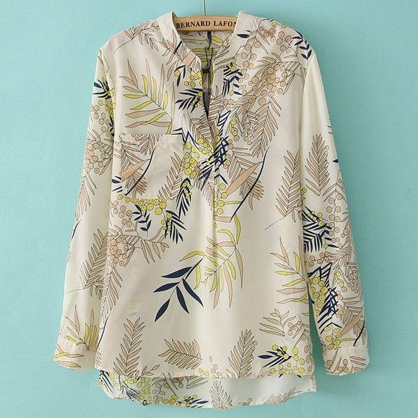Recién Bamboo Leaves Lámina soporte cuello de manga larga blusa de la gasa
