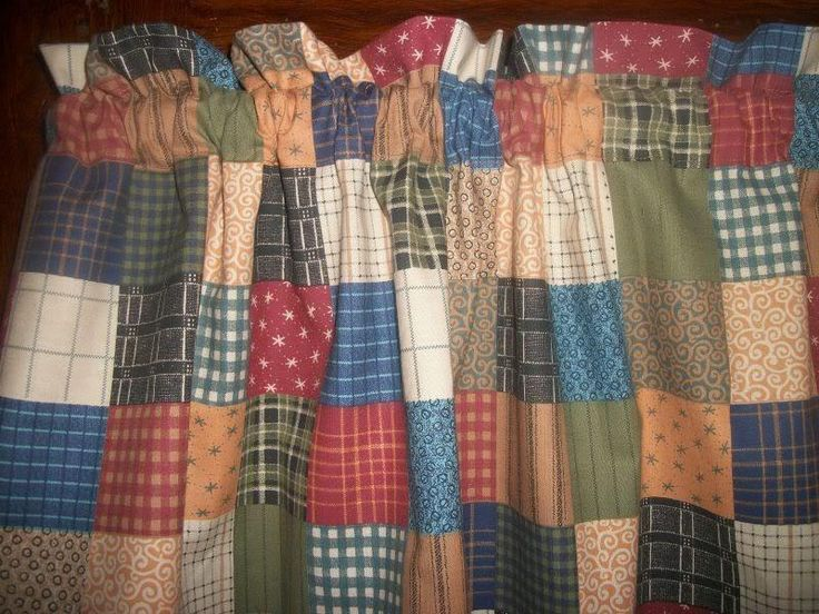 Country Farm House Kitchen Patchwork Check Plaid Homespun Fabric Curtain Valance #Handmade