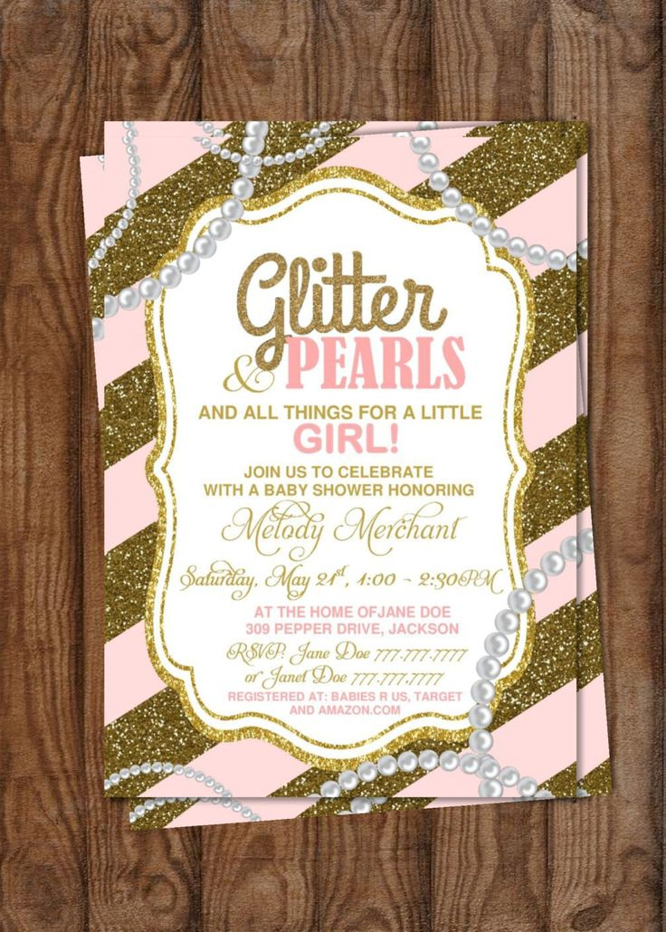 recipe themed bridal shower invitation wording%0A DIY Printable Baby Shower It u    s a Girl   Glitter and Pearls   Gold Glitter    Trendy