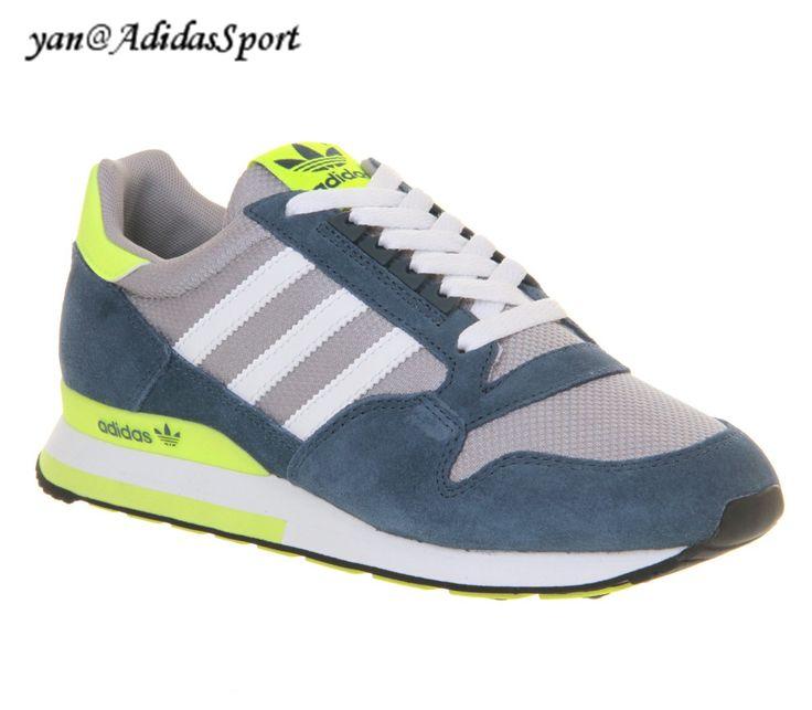Adidas Originals ZX 500 Femmes OG Chaussures Uniforme Bleu/Néon Chaux  /Gris/Blanc