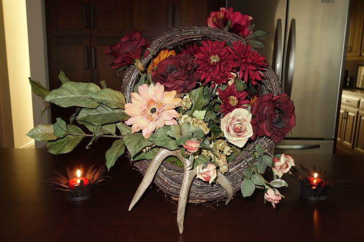 Floral Arrangement With Deer Antlers Flowers Pinterest