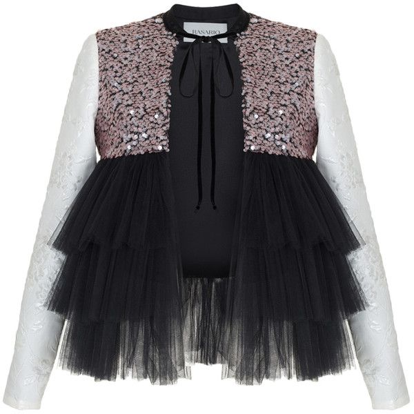 Rasario     Ruffle Tulle Sequin Jacket (31.094.245 VND) ❤ liked on Polyvore featuring outerwear, jackets, tops, black, crew jackets, ruffle jacket, tulle jacket and sequin jacket