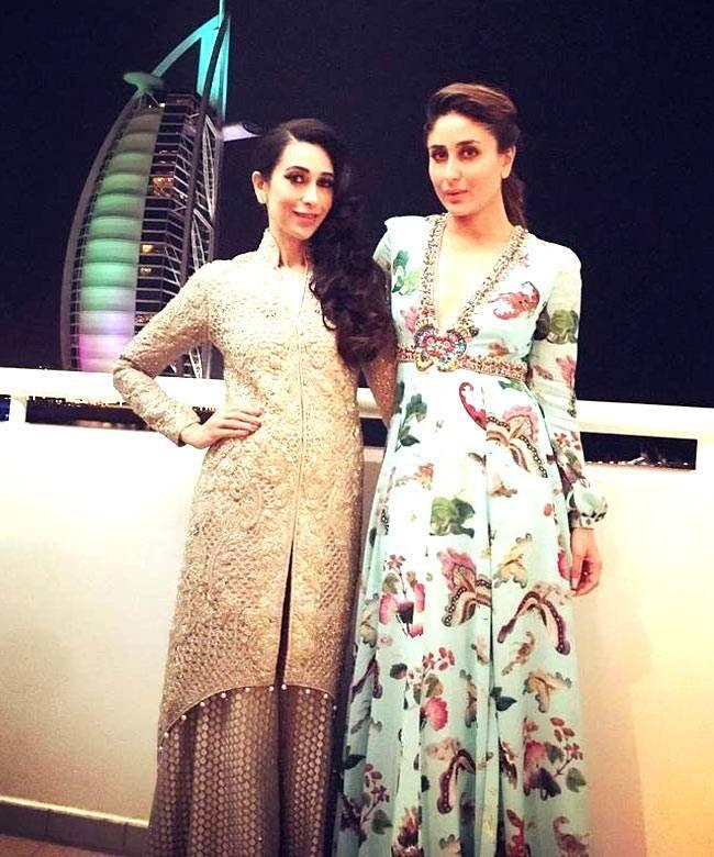 Karisma Kapoor and Kareena Kapoor in Dubai at TOIFA Awards 2016.