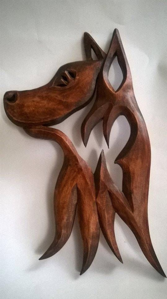 Wooden dog Carving Wall Dog Wood carving Dog German shepher