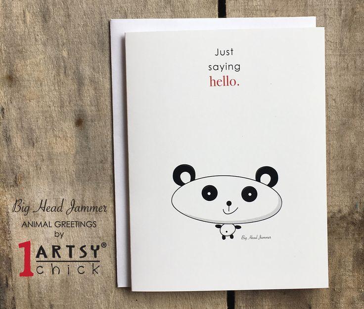 "ANIMAL GREETINGS Pack of 8 Big Head Jammer Panda Animal Greetings Card, Blank Inside, Kids Original Art, Saying Hello 4.25"" x 5.5"" https://www.etsy.com/shop/1ArtsyChickStudio?ref=profile_shopname"
