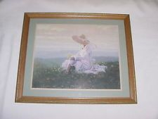 LADY HAT SITTING IN MEADOW OF FLOWERS PICTURE PRINT Homco Home Interior  $19.00