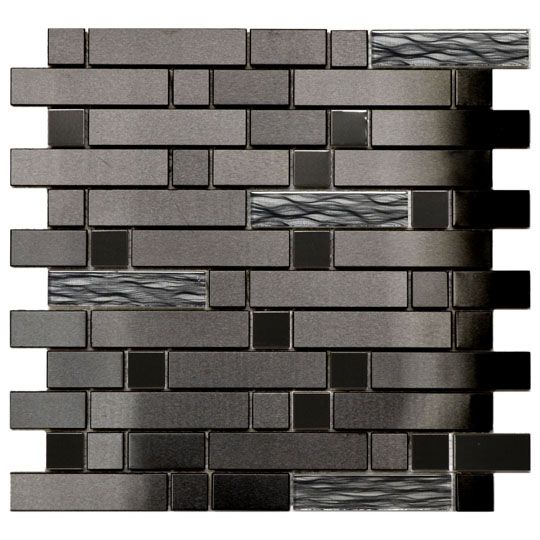 Black Stainless With Black Wave Glass Mosaic Tile Emt W1302 Mix Sm