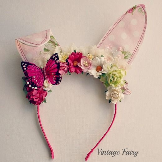 Jemima bunny ears in pink  made for all ages  www.vintagefairy.com.au