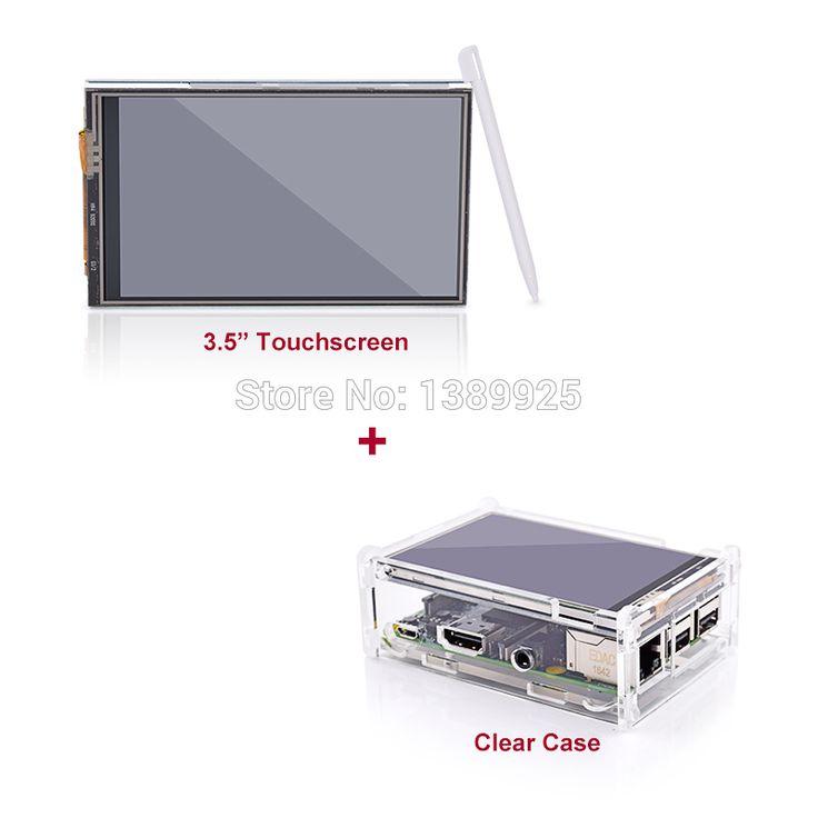 """3.5 """"液晶tftタッチスクリーンディスプレイ用ラズベリーパイ2/ラズベリーパイ3モデルbボード+アクリルケース+スタイラス(なしでラズベリーパイ)"""