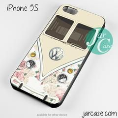 pink floral vw retro bus Phone case for iPhone 4/4s/5/5c/5s/6/6 plus - iPhone 6 Plus / WHITE