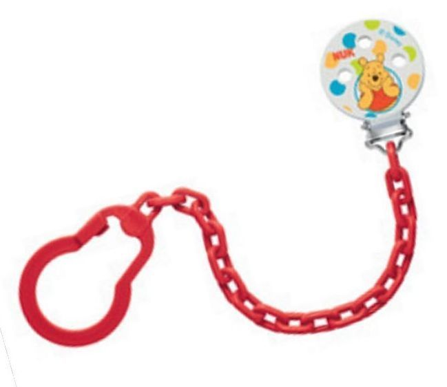 NUK Winnie the Pooh Soother Pacifier Chain Leash 0-36 Months Red (7742-1R) #NUK