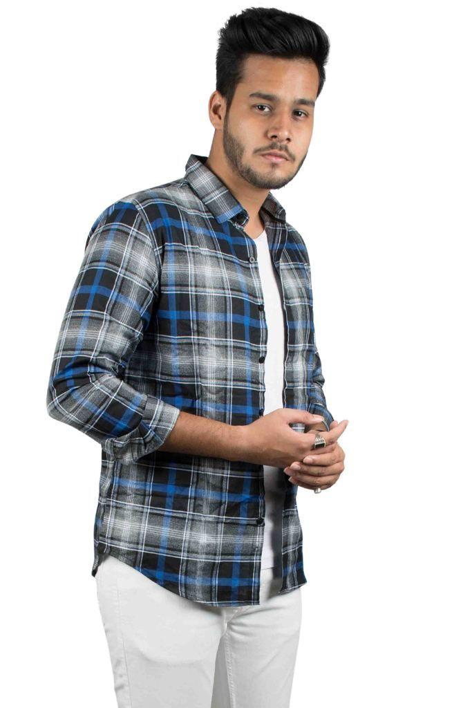 33bd1beae2 Black and Blue Full Sleeves Checks Shirt for Men | Mans fashion ...