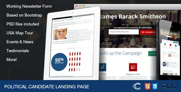 Political Candidate - Responsive Landing Page - 25 Prodigious Landing Page HTML Templates