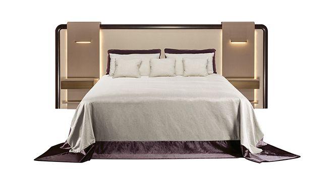 Широкие мягкие изголовья-ширмы — новый атрибут кровати категории «экстра». Они могут зонировать просторные спальни и служат роскошным декоративным элементом.