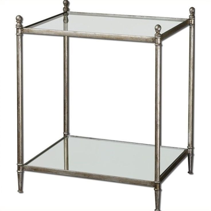 Lowest Price Online On All Uttermost Gannon Mirrored Glass End Table In  Antiqued Silver   24282