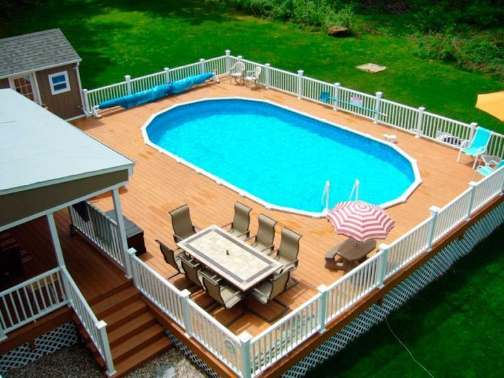 Oval Shape Ideas Above Ground Swimming Pools Decks With Wooden ...