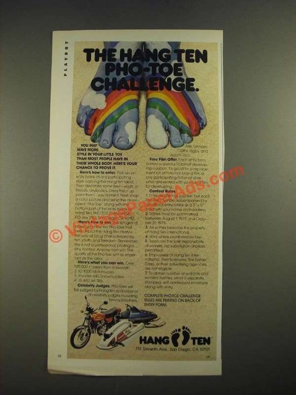 1978 Hang Ten Fashion Ad - Pro-Toe Challenge