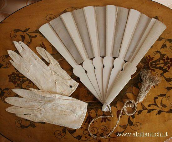 1865 Wedding fan and gloves. Part of an ensemble.