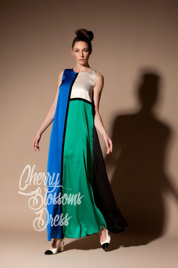 Blue Maxi dress/ Green Maxi Summer Maxi by cherryblossomsdress