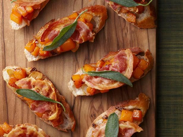 Butternut Squash Crostini : Spoon cooked squash onto baguette slices and top with fried pancetta and sage.