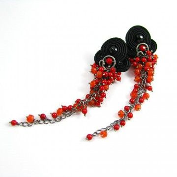 Z gronem sutasze - soutache earrings with lots of minerals; coral, carnelian and onyx...