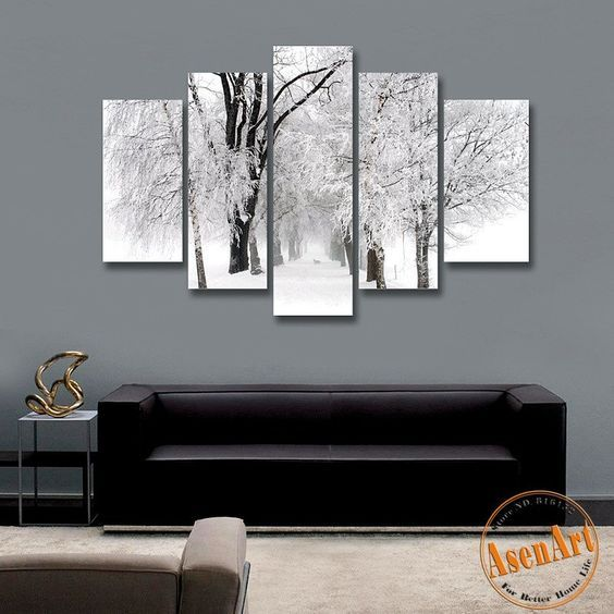 5 Panel Wall Art Winter Snow Paintings Modern Tree Painting Picture For Living Room Wall Decor