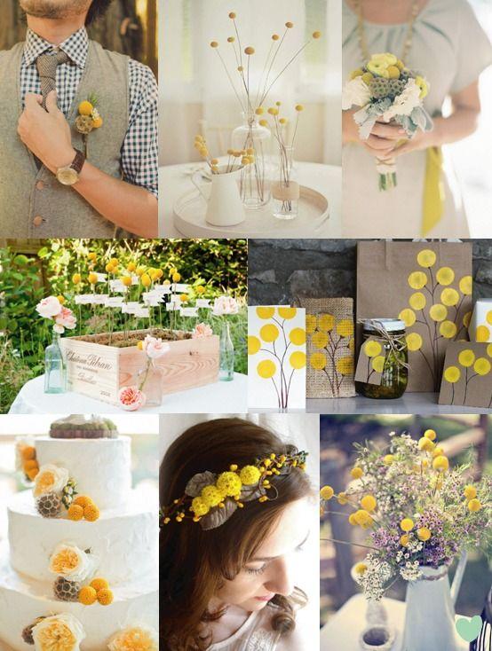 Rustic Wedding Styling with #Craspedia Mood Board from The #Wedding Community  #weddingstyling #weddingflowers #billyballs #billybuttons
