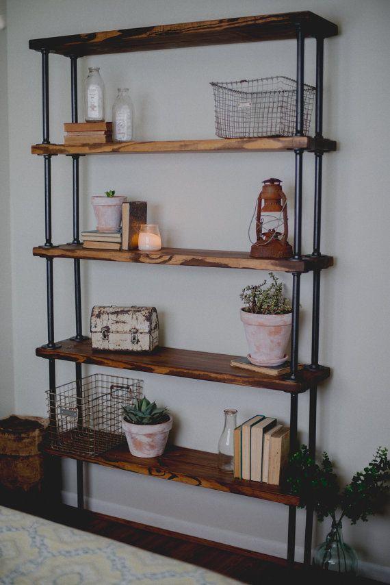best 25 pipe bookshelf ideas on pinterest diy industrial bookshelf iron pipe shelves and. Black Bedroom Furniture Sets. Home Design Ideas