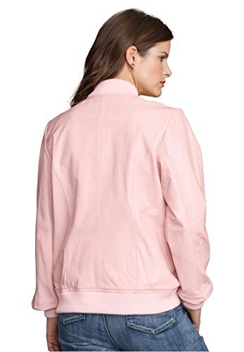 Roamans Women's Plus Size Leather Bomber Jacket