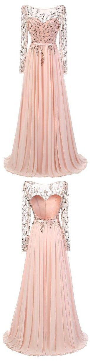 Elegant A-line Scoop Prom Dresses,Floor Length Pink Chiffon Prom,Evening Dress With Long Sleeves,126