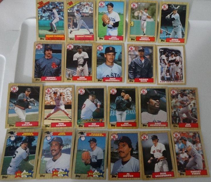 1987 topps boston red sox team set of 38 baseball cards
