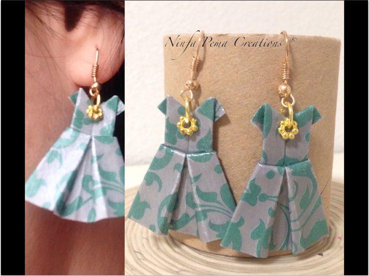 Paper earrings by Ninfa Pema Creations. Papereco. Diy paper Creations #paperart