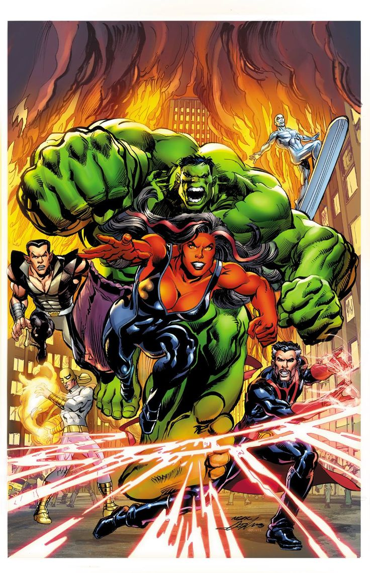 Red She-Hulk, The Hulk, Iron Fist, Doctor Strange, Silver Surfer, and Namor by Neal Adams *