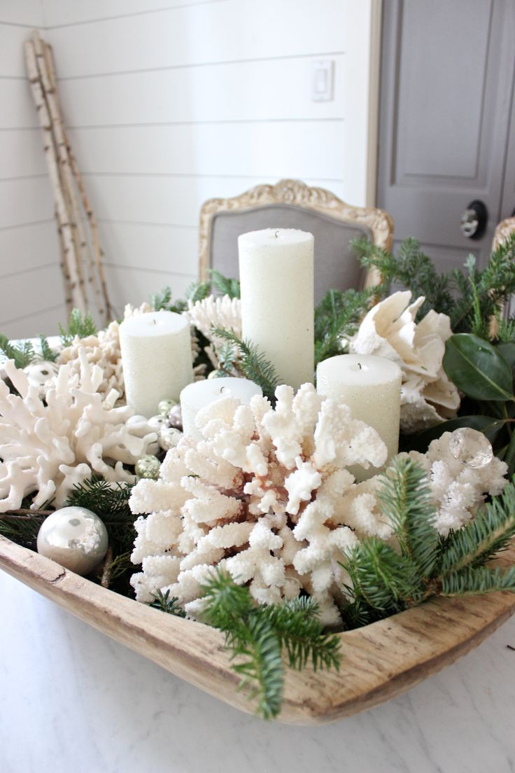 Picked up some pretty white candles and a few silver balls from HomeGoods to help this vintage dough bowl get ready for Christmas. Added greenery and coral for the finishing touch! #happybydesign #sponsored                                                                                                                                                      More