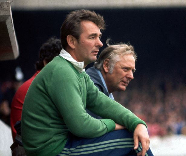 Nottingham Forest manager Brian Clough with assistant Peter Taylor watching the game from the bench - September 1977
