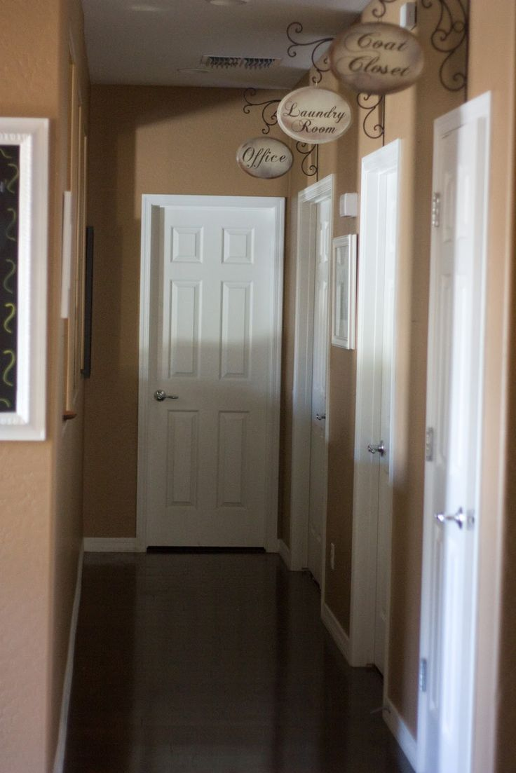 """Hallways: Bringing the outside in!  - This would be a cute solution to guests asking (in our small house) """"Where's the bathroom?"""" ... Or else I could just paint all the doors different colors ... Either or."""