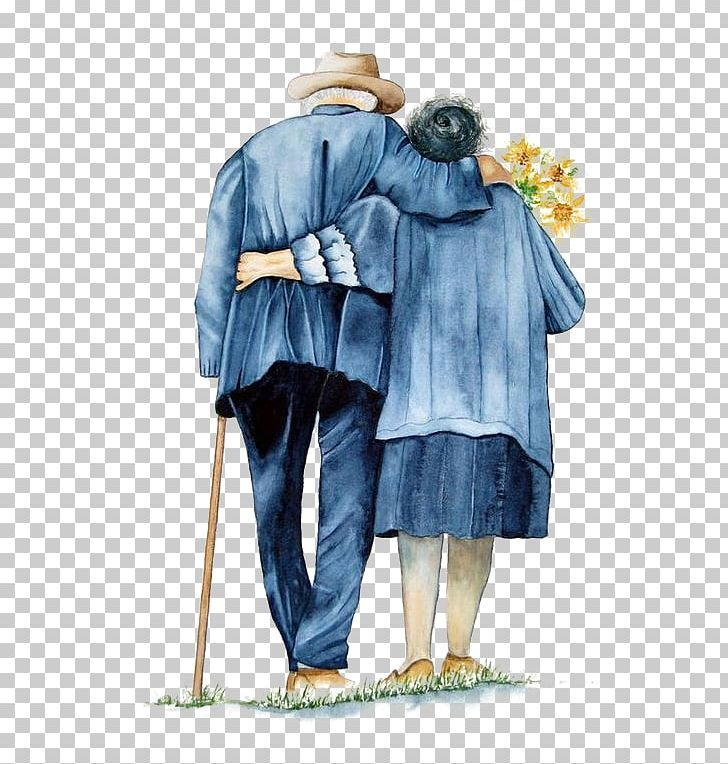 Mutual Support Of The Old Couple Back Png Back To Cartoon Couple Costume Design Couple Elderly Old Couples Couple Cartoon Couples