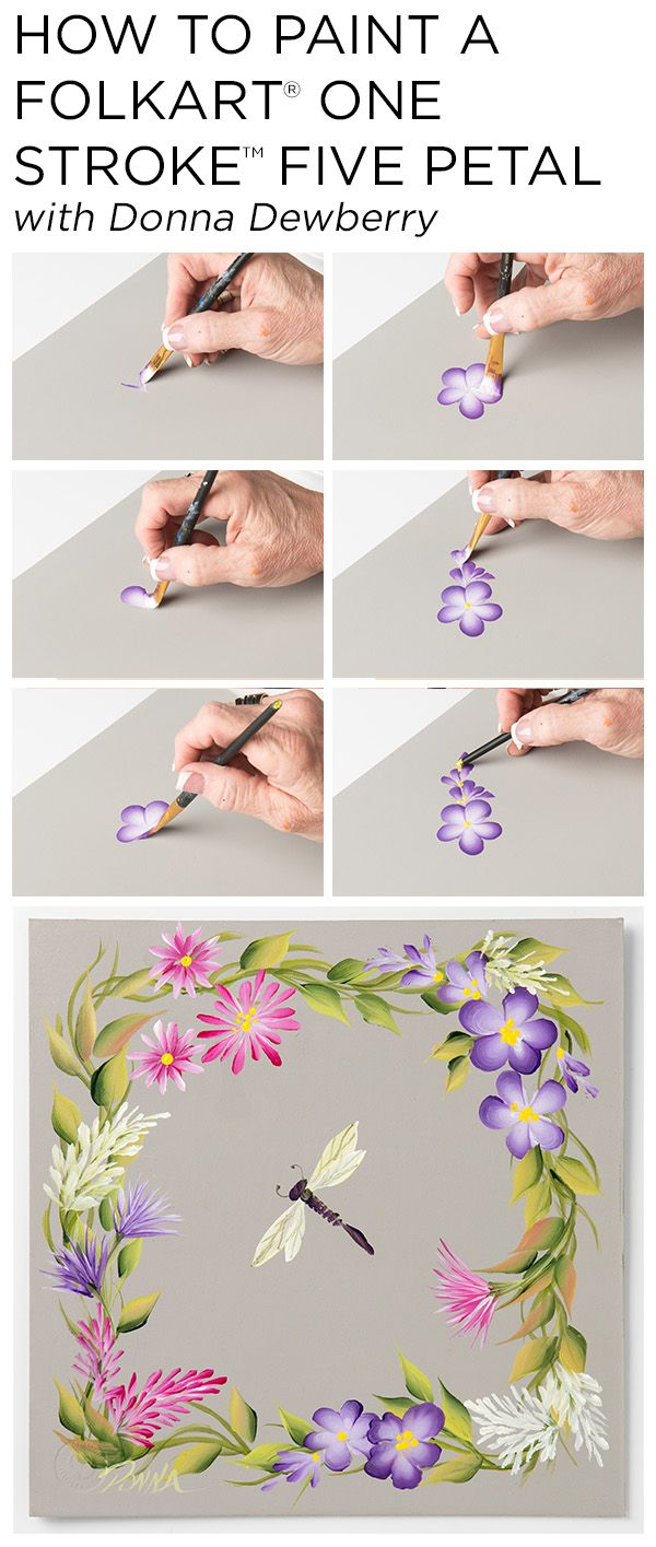 "Learn how to paint five petal flowers, trailing flowers, and ruffled flowers using a small palette of FolkArt Multi-Surface Acrylic paints and just a few brushes with Donna Dewberry's acclaimed ""One Stroke Painting"" technique."