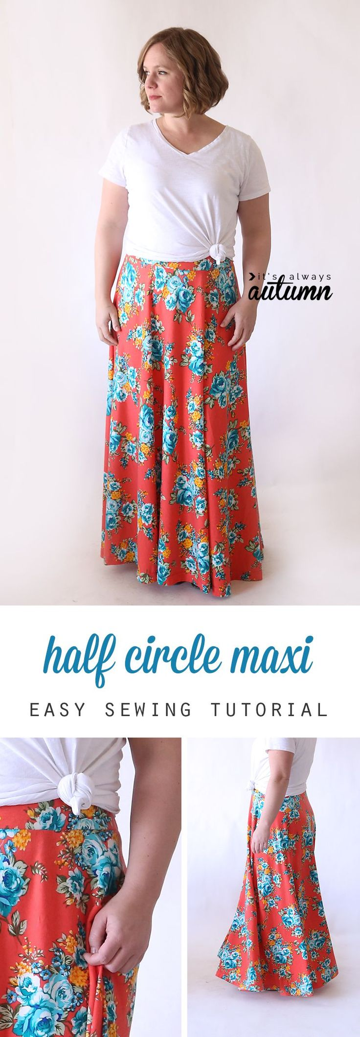 How to make a full, flattering DIY maxi skirt without a pattern. Easy sewing tutorial.