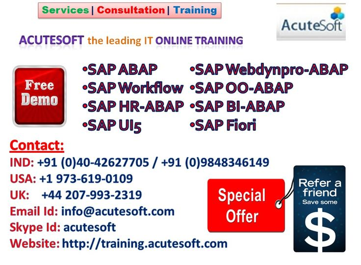 Get Free Demo for SAP All Modules form AcuteSoft Solutions with Special Offers. Call for Free Demo...
