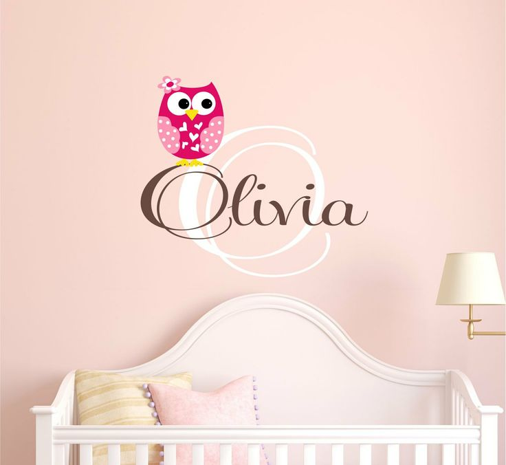 Girls Owl Wall Decal   Monogram Wall Decal  by LucyLews on Etsy, $27.00