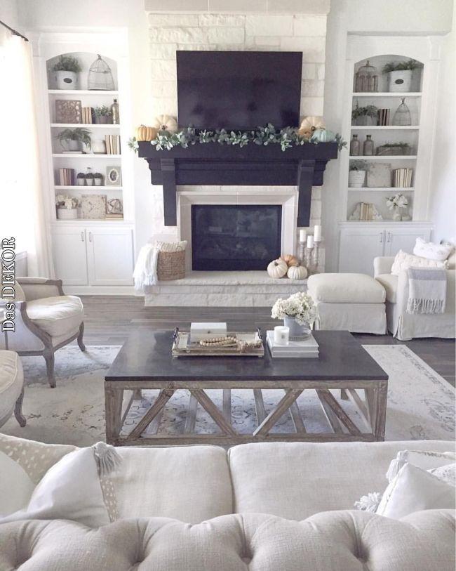 Dark Floors Or Family Room In 2019 Pinterest Home Kitchen And House D Farm House Living Room Living Room With Fireplace Bookshelves In Living Room