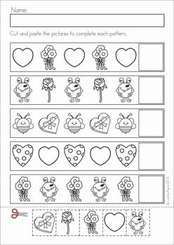 Kindergarten Valentine's Day Math and Literacy Worksheets & Activities No Prep. A page from the unit: patterns cut and paste
