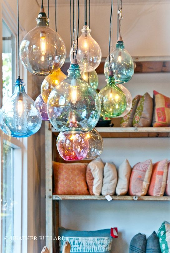 Want these over the kitchen island! Toooo bad they are about $430 each (not for the entire set as pictured!) Beautiful hand blown glass pendant lights from Cisco Home.