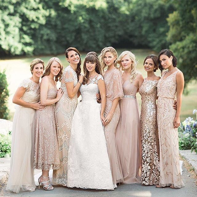 A blush dreamscape! @Margoandmes a mix-n-match queen & her maids looked stunning in their BHLDN dresses. Would you recreate this look for your big day? (link in profile to get the look   photo by @martha_weddings @polly_alexandre) #maidforeachother #jenfredwed2015 #regram by bhldn