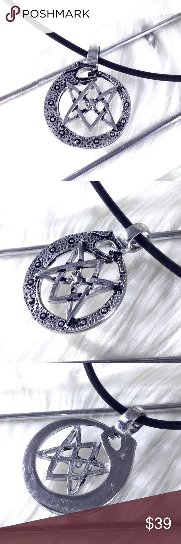 "Ouroboros Thelemic Unicursal Hexagram Necklace Heavy pewter pendant with leather cord. Thelema thelemite occult Magick symbol unicursal hexagram ouroborus ouroboros world Serpent with 5 petalled rose in center. 1.5"" x 2"". Artisan cast from the U.K.  I only have a few of these. They are amazing. Pagan witch Wicca Pentagram gothic.  🌟 Save the most with bundles. I offer 25% OFF on bundles of 2+ items. I accept reasonable offers on single items & bundles. NO trades/holds/lowball offers…"