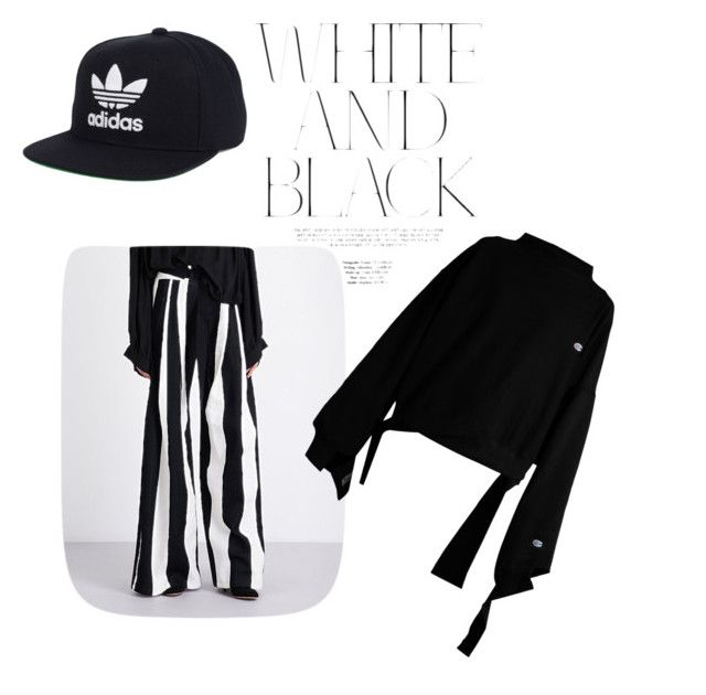 """Black and white"" by cristinnai on Polyvore featuring Ann Demeulemeester, Vetements and adidas"