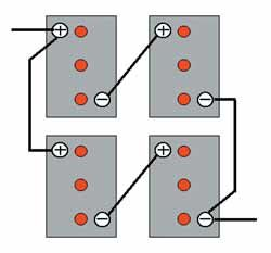Figure 3: Two sets of two 6-volt batteries wired in series-parallel on 6 volt deep cycle rv batteries, farmall super a transmission diagram, 6v to 12v wiring diagram, 12 volt regulator circuit diagram, dual battery hook up diagram, batteries in series diagram, 6v to 12v conversion diagram, 6 volt coil wiring, farmall h generator wiring diagram, 12 volt battery diagram, farmall wiring harness diagram, 12 to 6 volt diagram, 12 volt charging system diagram, trailer light wiring color diagram, pioneer deh-16 wiring harness diagram, farmall cub 12 volt conversion diagram, 6 volt positive ground system, 12 volt wiring diagram, 6 volt system diagram, rv battery hook up diagram,